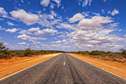 Australian Photos - Long Straight Road Australia Outback by Colin and Linda McKie