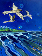 Aotearoa Paintings - Long Tailed Cuckoo and The Explorers by Patricia Howitt