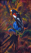 Oil On Masonite Posters - Long Tailed Widow Bird Poster by Rene