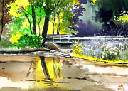 Serene Landscape Painting Originals - Long time No see by Anil Nene