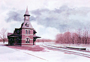 Railroad Snow Paintings - Long Wait by Tom Wooldridge