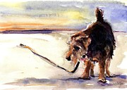 Dog Walking Prints - Long Walks and Sunsets Print by Molly Poole