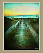 Long Walkway To Beach Print by Linda Olsen