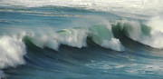 California Big Wave Surf Prints - Long Wave Print by Donna Blackhall