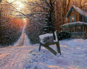 Winter Sunset Paintings - Long Way From Home by Doug Kreuger