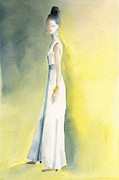 Fashion Art Prints Paintings - Long White Dress Watercolor Fashion Illustration by Beverly Brown Prints