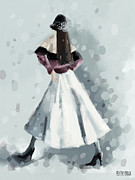 Winter Scene  For Sale Paintings - Long White Skirt and Black Sequined Hat Fashion Illustration Art Print by Beverly Brown Prints