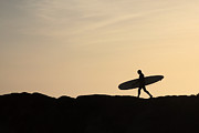 Surf Silhouette Prints - Longboarder Crossing Print by Paul Topp