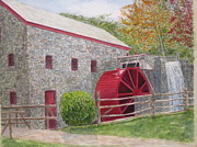 Longfellow Paintings - Longfellows Gristmill by Carol Flagg