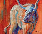 Abstract Bull Painting Posters - Longhorn in Autumn Poster by Theresa Paden