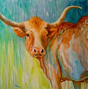 Longhorn In Spring Print by Theresa Paden