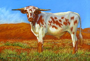 Cattle Pastels Prints - Longhorn In The Australian Outback Print by Margaret Stockdale