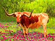 Pasture Digital Art Posters - Longhorn v1 Poster by Wingsdomain Art and Photography