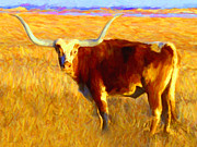 Bull Digital Art - Longhorn v2 by Wingsdomain Art and Photography