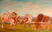 Cowgirl Prints Paintings - Longhorns on the Plateau by Jodie  Scheller