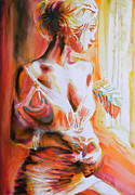 Vibrant Colors Drawings Prints - Longing For You Print by Juan Jose Espinoza