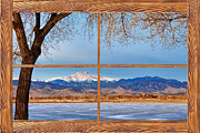 Commercial Space Art Framed Prints - Longs Peak Across The Lake Barn Wood Picture Window Frame View Framed Print by James Bo Insogna