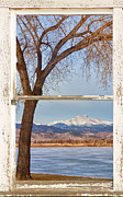 Winter Photos Prints - Longs Peak Across The Lake Farm House Window View Print by James Bo Insogna