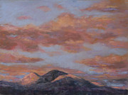 Clouds Pastels Posters - Longs Peak Sunrise Poster by Billie Colson