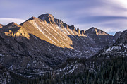 Reflection Of Trees In Lake Prints - Longs Peak Sunset Print by Aaron Spong
