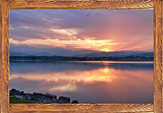 Bo Insogna Framed Prints - Longs Peak Sunset Reflection Rustic Picture Window Frame Art Framed Print by James Bo Insogna