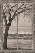 Winter Photos Framed Prints - Longs Peak Winter Lake Barn Wood Picture Window Sepia View Framed Print by James Bo Insogna
