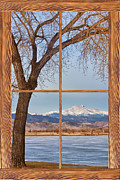 Winter Photos Framed Prints - Longs Peak Winter Lake Barn Wood Picture Window View Framed Print by James Bo Insogna