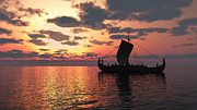 Longship At Sunset Print by Fairy Fantasies