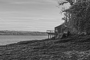 Mono Prints - Lonley Boat House Print by Brian Roscorla