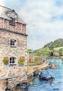 Beach Scenery Drawings Prints - Looe Print by Liz  Lamb