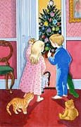Kids Toys Paintings - Look at the Christmas Tree by Lavinia Hamer
