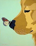 Gold Labrador Paintings - Look deep into my eyes by Julie Stubbs