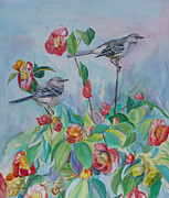 Mockingbird Paintings - Look Who is Watching by Gail Dolphin