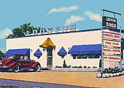 Historic Architecture Paintings - Lookers Diner In Rutland Vt Around 1940 by Dwight Goss