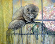 Cage Paintings - Lookin for Grub in All the Wrong Places by Donna Tucker