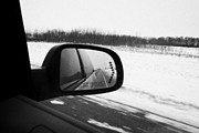 Wing Mirror Posters - looking at side view mirror winter driving along Saskatchewan highway 11 from Saskatoon to Regina Ca Poster by Joe Fox