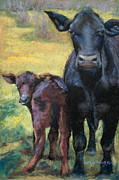 Bulls Pastels Framed Prints - Looking Back Framed Print by Lisa Pope