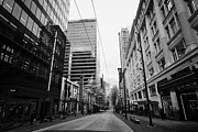Long Street Framed Prints - looking down granville street shopping area between the bay and pacific centre Vancouver BC Canada Framed Print by Joe Fox