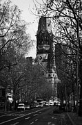Gedachtniskirche Framed Prints - looking down Kurfurstendamm towards Kaiser Wilhelm Gedachtniskirche memorial church Berlin Germany Framed Print by Joe Fox