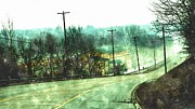 Foggy Day Painting Posters - Looking Down To Newaygo Michigan North Bound M-37 Through The Fog Poster by Rosemarie E Seppala