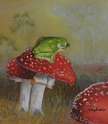 Toadstools Pastels Framed Prints - Looking for Fairies Framed Print by Sandra Sengstock-Miller