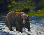Kodiak Bear Paintings - Looking for Fish by Jim Leach