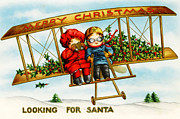 Cards Vintage Digital Art Prints - Looking for Santa Print by Munir Alawi