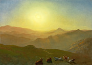 Famous Artists - Looking from the Shade on Clay Hill .Sunset Clay Street Hill San Francisco by Albert Bierstadt