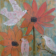 Peace Doves Paintings - Looking on the Bright SIde by Robin Maria  Pedrero