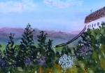 Troy Paintings - Looking out from top of Jay Peak  by Donna Walsh