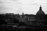 Luca Framed Prints - Looking out over Rome including skyline with the colosseum and dome of santi luca e martina with the imperial roman forum below Lazio Italy Framed Print by Joe Fox