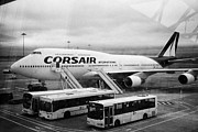 Jet Framed Prints - Looking Out Through Terminal Window At Corsair International Airlines Boeing 747 F-hsea Dublin Airpo Framed Print by Joe Fox