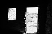 Cabin Window Framed Prints - Looking Out Through Window And Door  From Interior Of Historic Stone Cabin Built By The Civilian Con Framed Print by Joe Fox