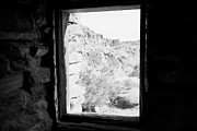 Cabin Window Framed Prints - Looking Out Through Window From Interior Of Historic Stone Cabin Built By The Civilian Conservation  Framed Print by Joe Fox